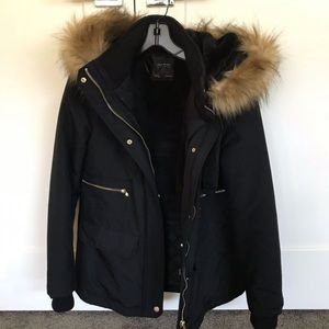 Zara fur hooded waterproof jacket
